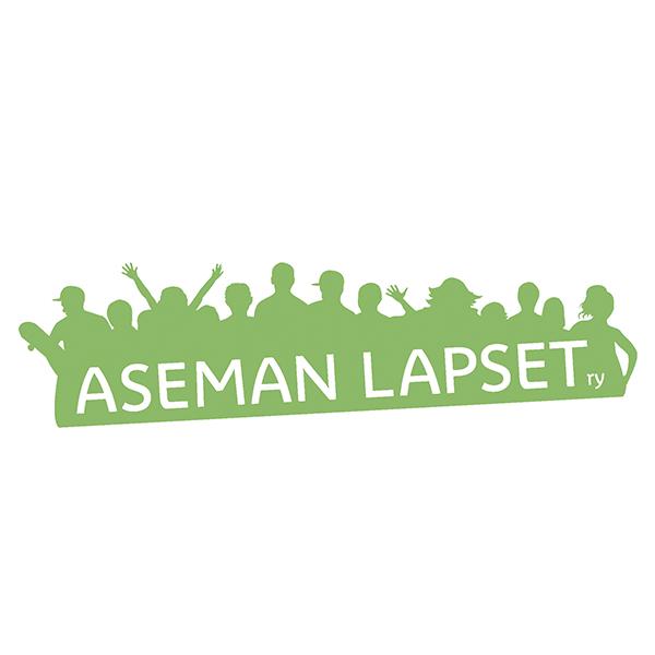 Aseman Lasten logo, vihreä pentuparvi, jonka päällä valkoisella teksti