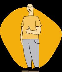 Piirroskuvassa henkilö näyttää peukaloa.
