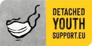 Detached youthwork -projektin logo. jossa kasvomaskin kuva ja teksti