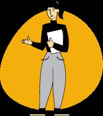 Piirroskuvassa naishenkilö ojentaa kättään.