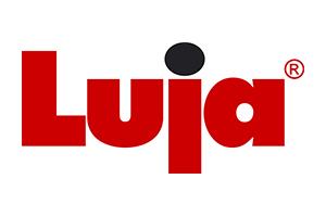 Luja-yhtiöiden punainen logo, jossa lukee