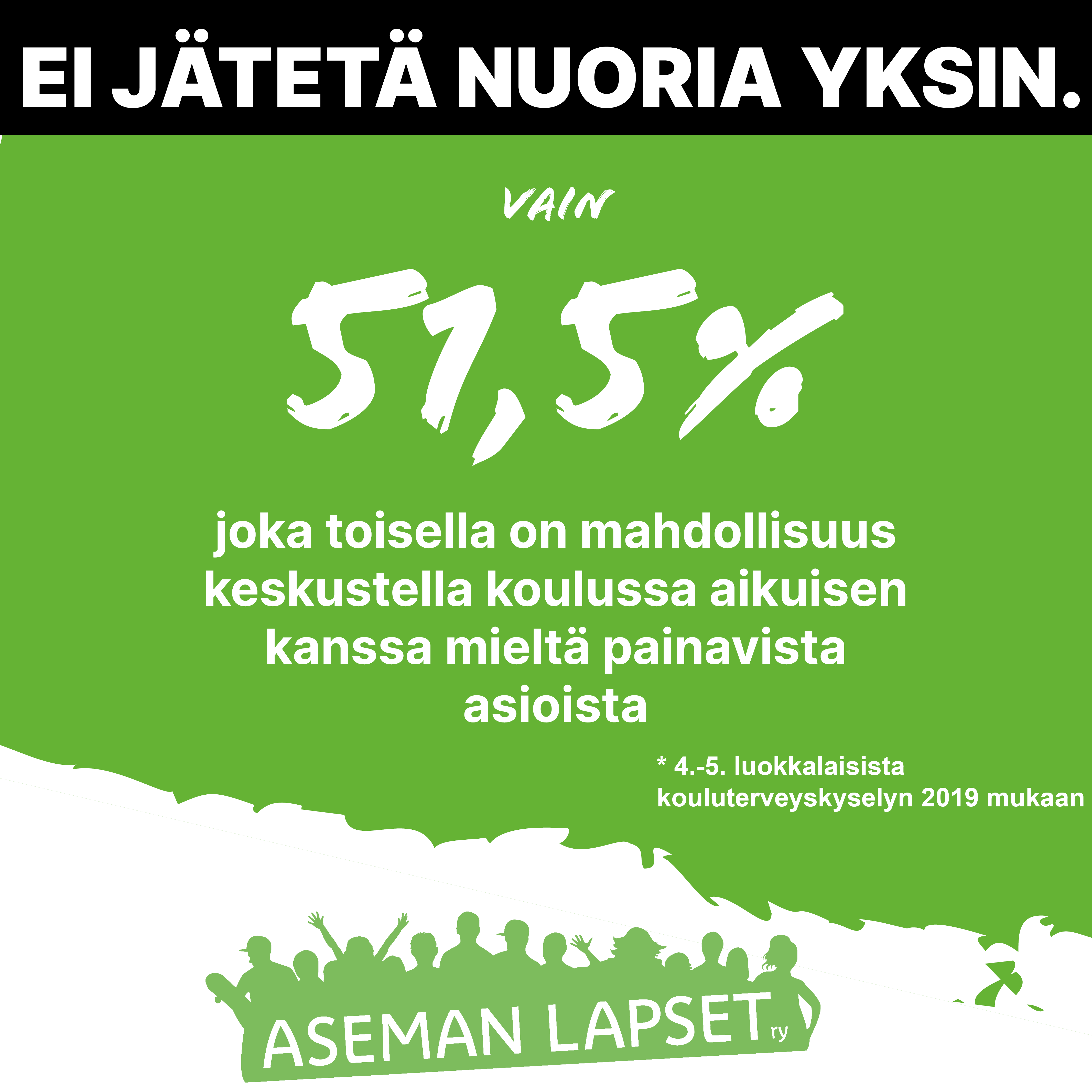 Teksti vihreällä pohjalla: 51,5 prosenttia joka toisella on mahdollisuus keskustella koulussa aikuisen kanssa mieltä painavista asioista.
