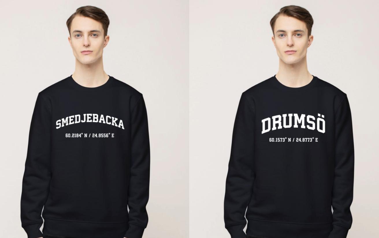 Kaksi paitaa, joissa ruotsinkieliset tekstit.